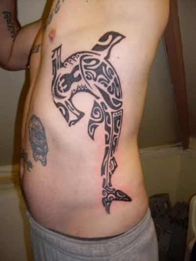 Impressive Shark With Hammerhead Tattoo On Side