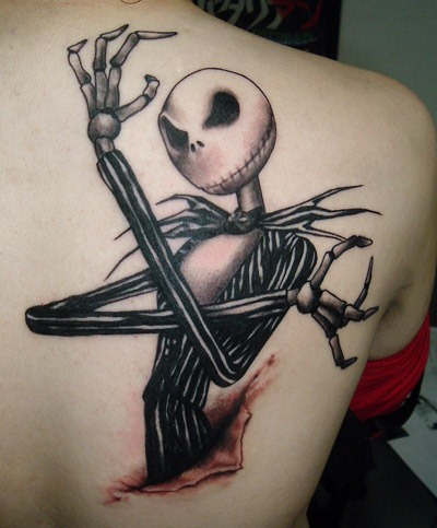Impressive Skeleton Hand Jack 3D Tattoo On Shoulder Blade