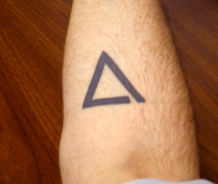 Incomplete Outline Triangle Tattoo
