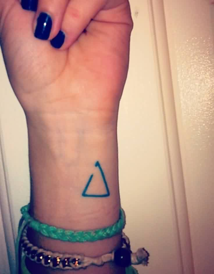 Incomplete Triangle Tattoo On Wrist