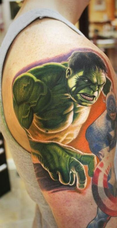 Incredible 3D Hulk Tattoo On Shoulder