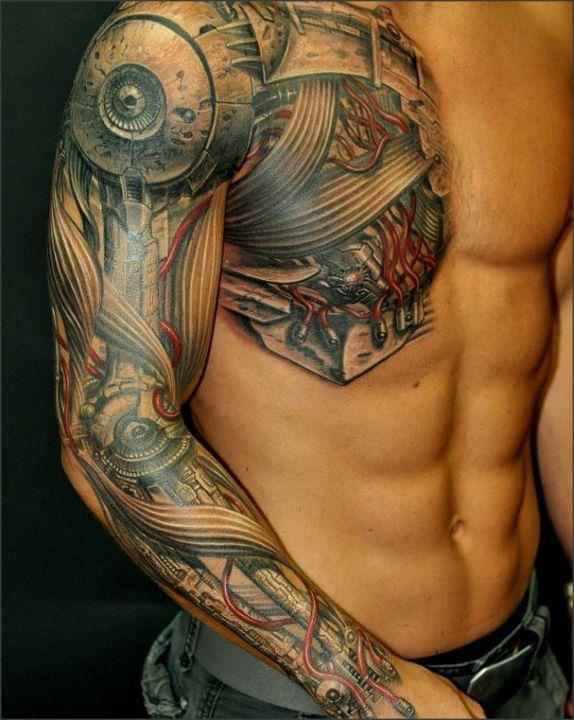 Incredible 3D Tattoos On Right Whole Sleeve