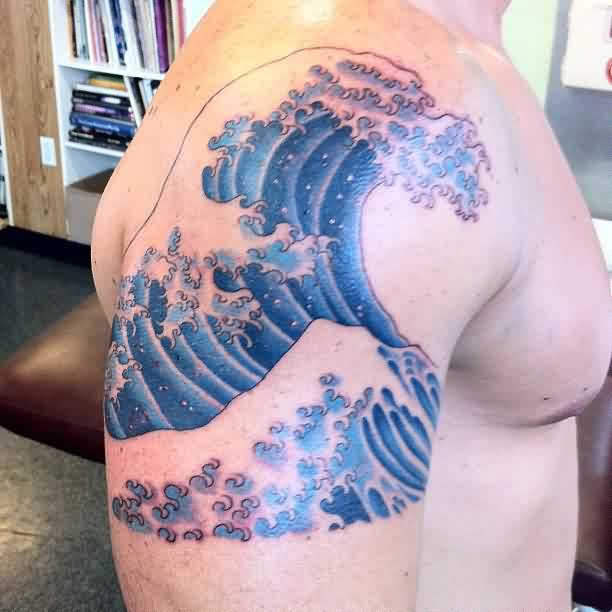 Incredible Blue Wave Tattoo On Shoulder (2)