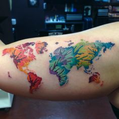 Incredible Color Map Tattoo On Arm