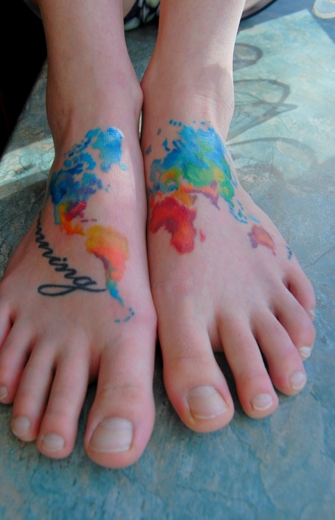 Incredible Color Map Tattoos On Feet