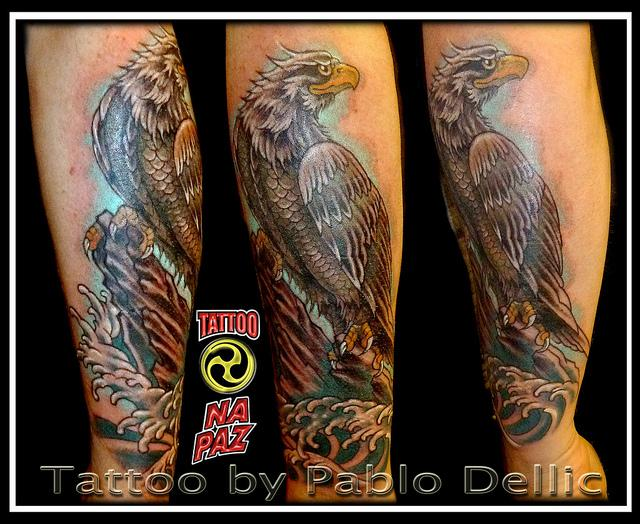 Incredible Eagle Waves Leg Tattoos
