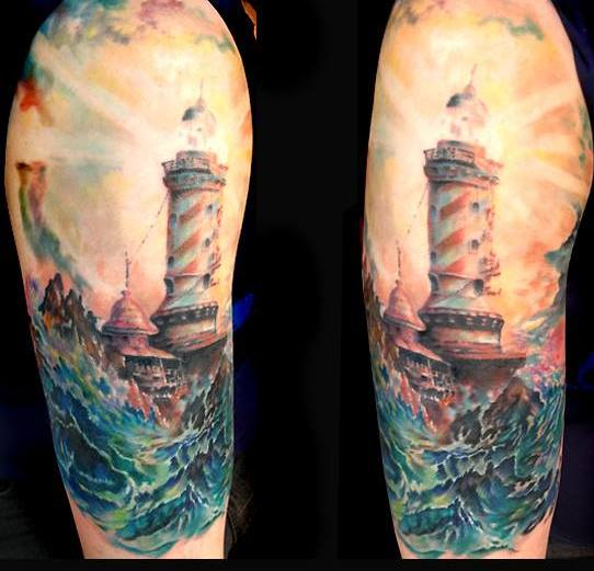 Incredible Lighthouse And Blue Waves Tattoos
