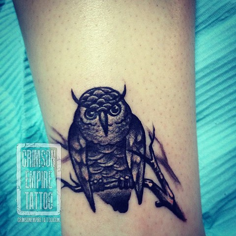 Incredible Owl On Branch Tattoo