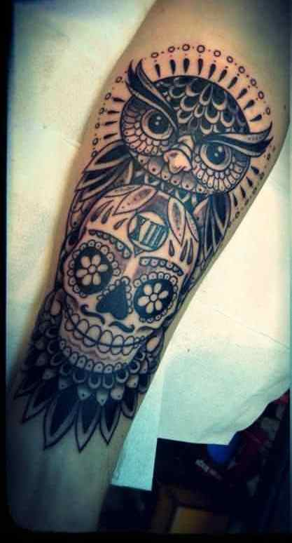 Incredible Owl Sugar Skull Tattoos