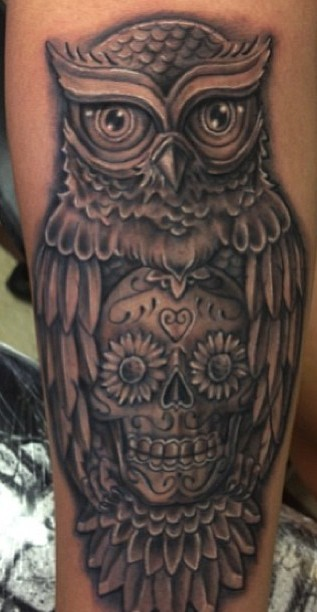 Incredible Owl With Sugar Skull Tattoo