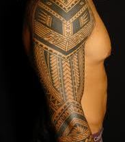 Incredible Polynesian Tattoo On Right Sleeve