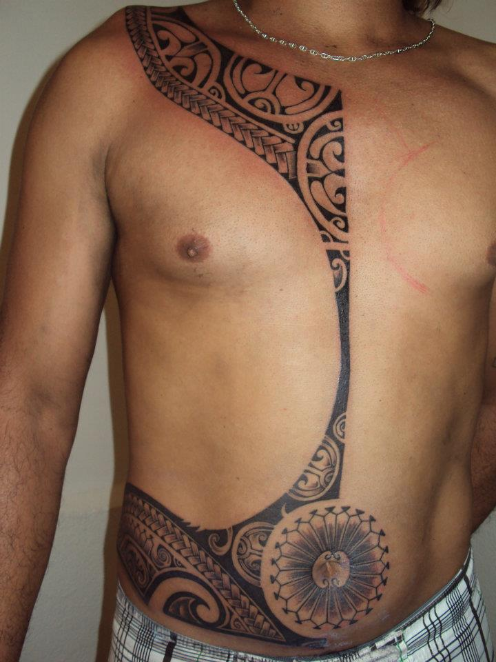 Incredible Polynesian Tattoos On Upperbody Of Man