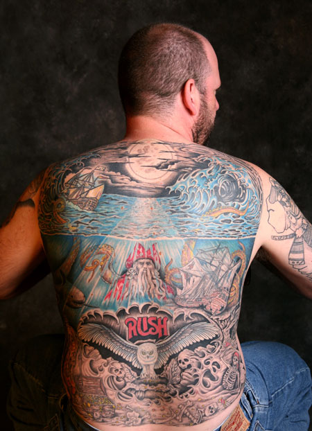 Incredible Sea Ship Waves Tattoos On Back