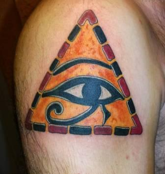 Incredible Triangle Egyptian Eye Tattoo On Shoulder