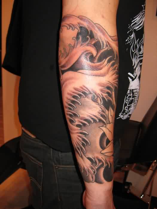 Incredible Wave Tattoo On Arm For Guys