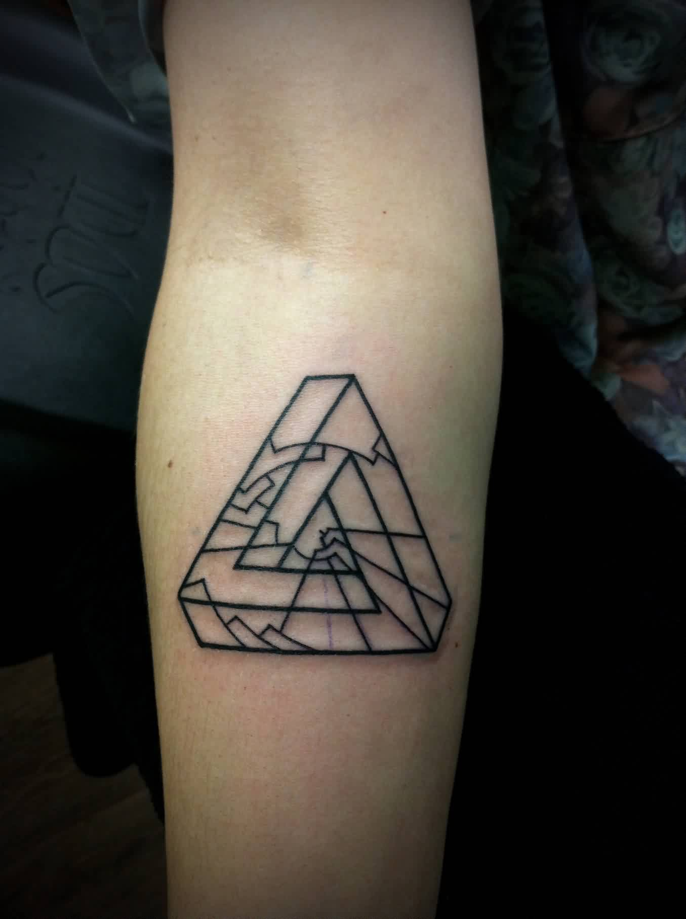 Infinite Triangle Tattoo On Forearm