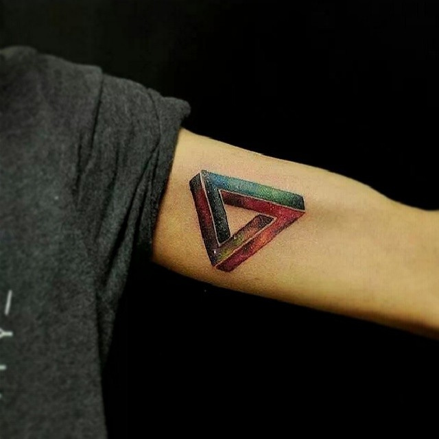 Inner Arm Colorful Galaxy Triangle Tattoo For Guys