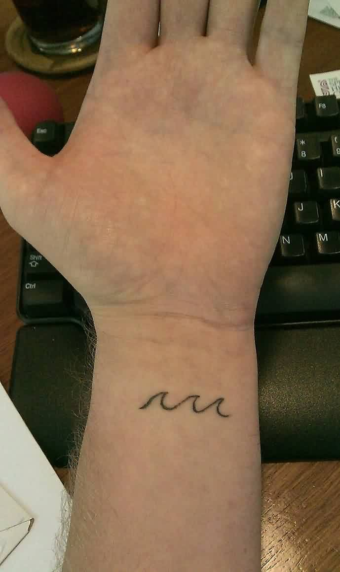 Inner Wrist Wave Tattoo