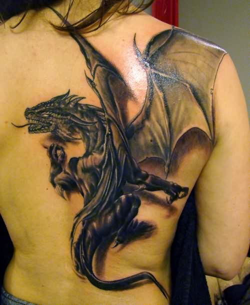 Insane 3D Dragon Tattoo On The Back