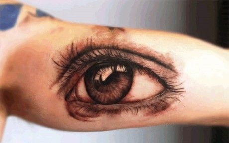 Inside Arm 3D Eye Tattoo