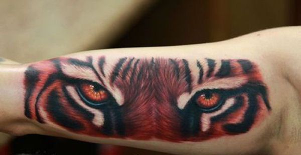 Inside Arm 3D Tiger Eyes Tattoo