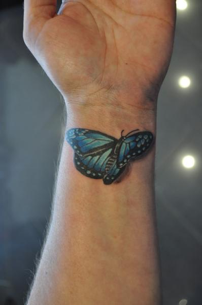 Inside Wrist 3D Butterfly Tattoo
