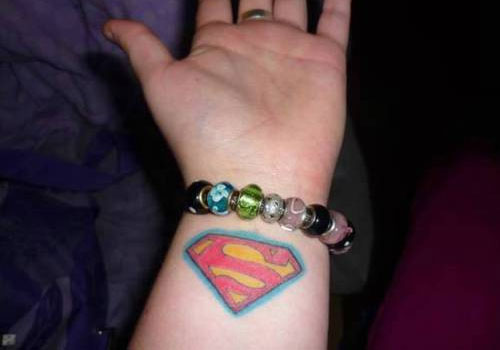 Inside Wrist 3D Superman Logo Tattoo