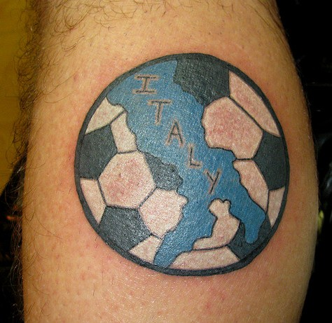 Italy Map In Football Tattoo