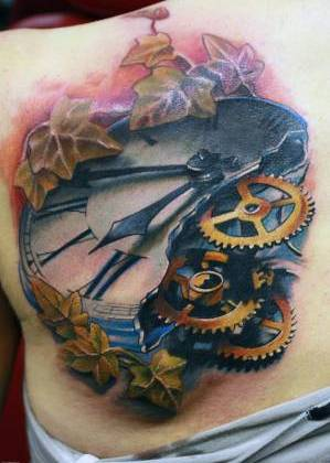 Ivy Leaves And Broken Gears Clock Tattoos On Back Shoulder