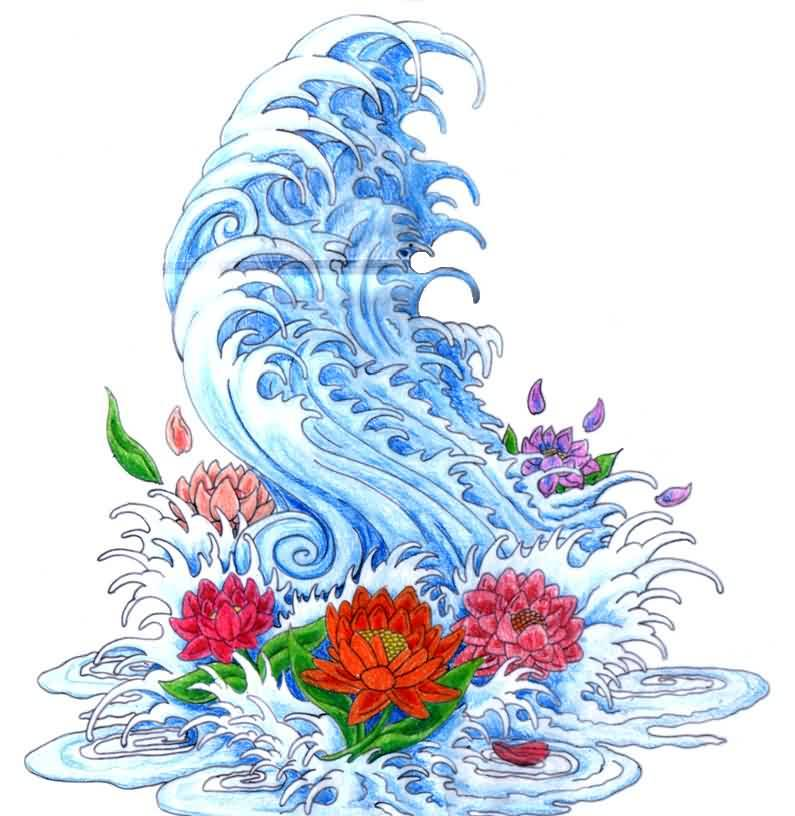 Japanese Blue Waves And Lotus Tattoo Design