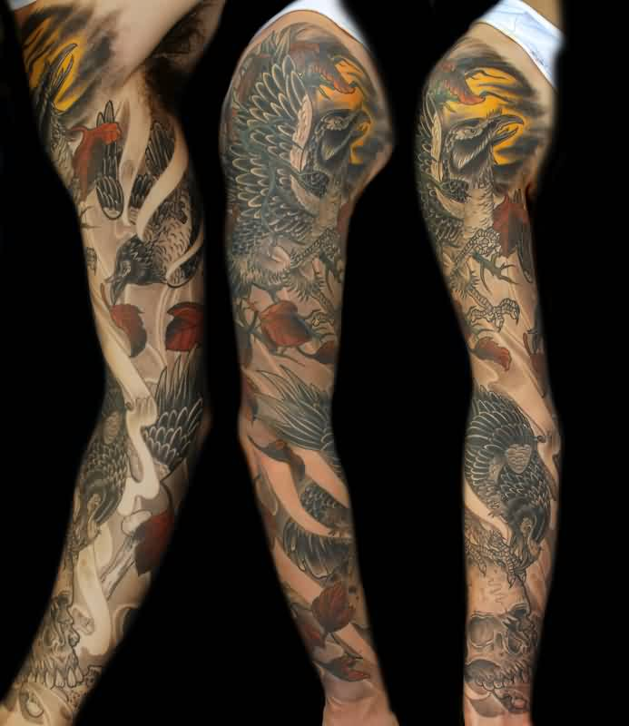 Japanese Crow And Skull Tattoos On Sleeve