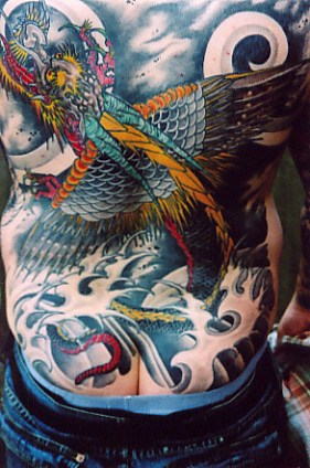 Japanese Dragon And Wave Tattoos On Entire Back