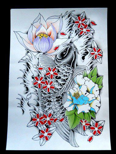 Japanese Fish Flowers And Waves Tattoos Photo