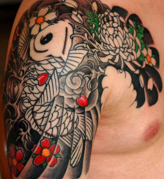 Japanese Fish Waves And Flower Tattoos For Men