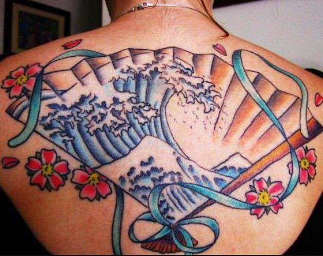 Japanese Great Wave Of Kanagawa Tattoo On Back