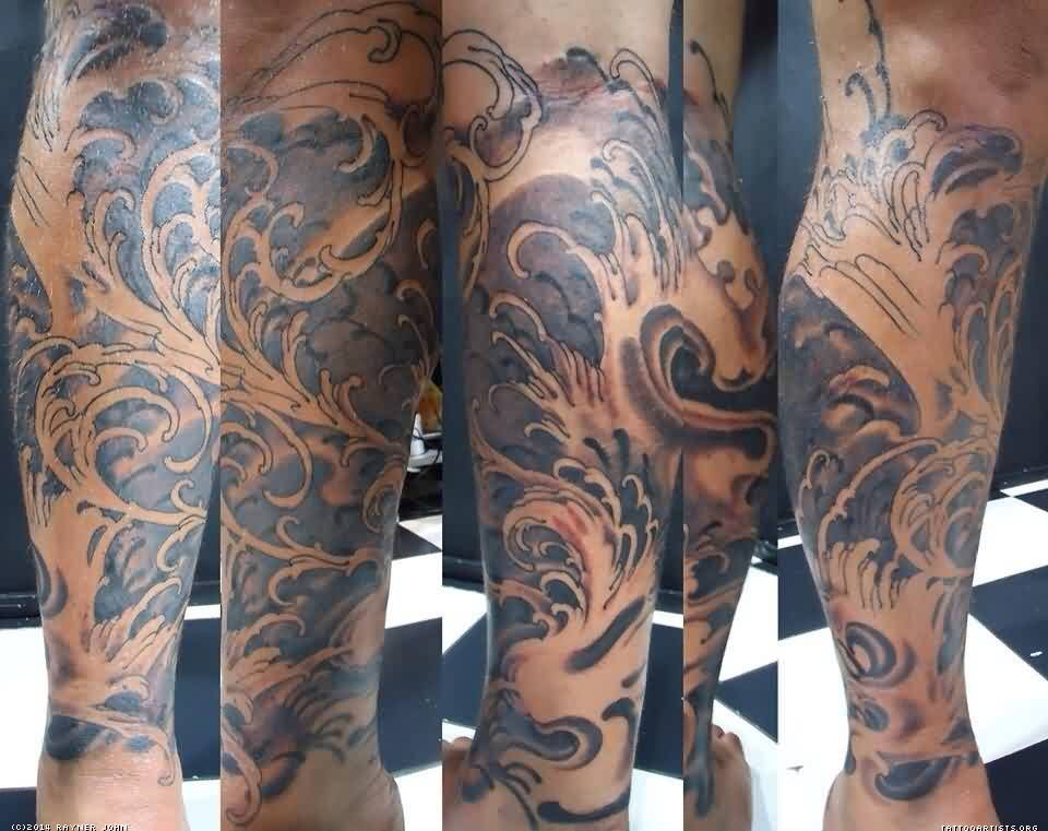 Japanese Grey Wave Leg Tattoos