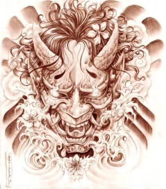 Japanese Hannya Mask And Waves Tattoos Flash