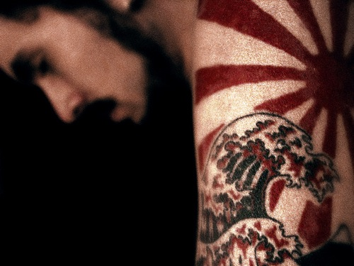 Japanese Rays And Wave Tattoos On Arm (2)