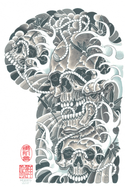Japanese Skull Waves Sleeve Tattoo Design