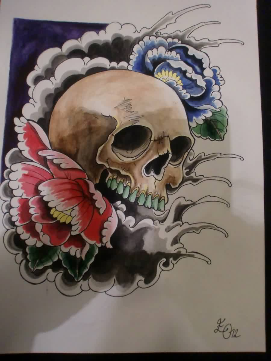 Japanese Skull Waves Tattoo Design