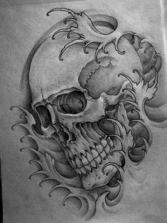 Japanese Skull Waves Tattoo Sketch