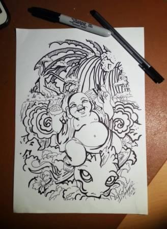 Japanese Style Buddha And Wave Tattoo Design Page