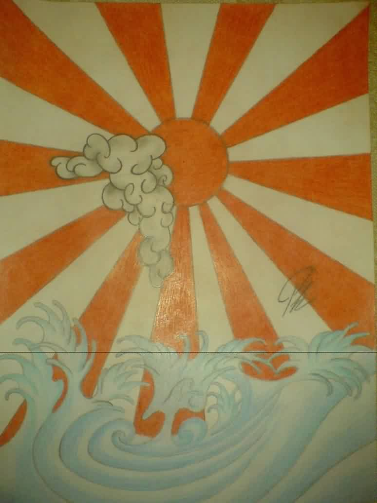 Japanese Sun And Waves Tattoo Design