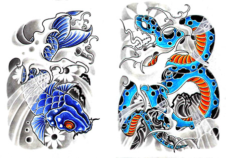 Japanese Traditiona Color Koi Snake Waves Tattos Sheet