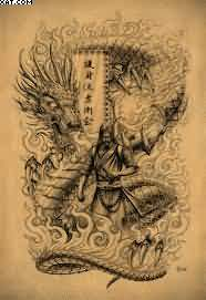 Japanese Warrior And Dragon Tattoo Print
