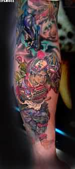 Japanese Warrior Color Ink Tattoo On Arm
