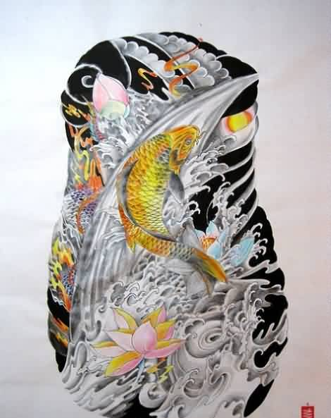 Japanese Water Waves Lotus And Koi Sleeve Tattoo Design