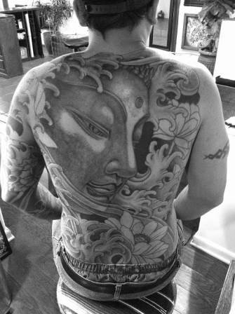 Japanese Wave Tattoos On Whole Back