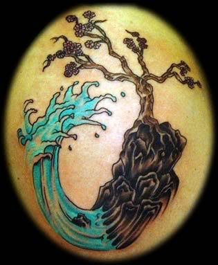 Japanese Wave Tree Tattoo Image
