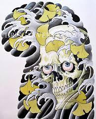 Japanese Waves And Skull Tattoo Designs